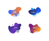 Set of trendy abstract design templates with fluid and liquid shapes. Bright geometric gradient elements. Applicable for banners, covers, logos, social posts, presentations. Vector illustration. Eps10