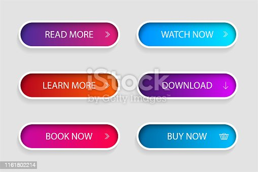 Set of trendy action button for web, mobile app.Template navigation button menu.Gradient icon for shop, game, banner.