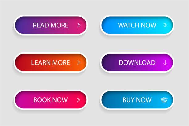一套時尚動作按鈕為網路,移動應用程式。範本導覽按鈕功能表。用於商店、遊戲、橫幅的漸變圖示。 - 按鈕 幅插畫檔、美工圖案、卡通及圖標