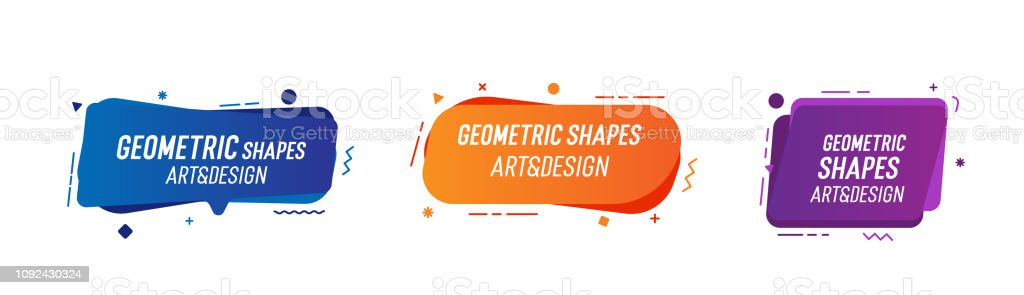Set of trendy colorful and glowy fluid shapes. Vector geometric template elements for your own projects - Grafika wektorowa royalty-free (Abstrakcja)