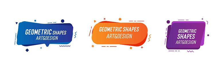 Set Of Trendy Colorful And Glowy Fluid Shapes Vector Geometric Template Elements For Your Own Projects - Stockowe grafiki wektorowe i więcej obrazów Abstrakcja
