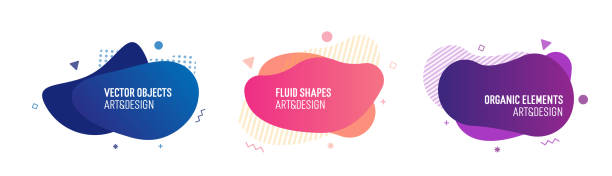 Set of trendy colorful and glowy fluid shapes. Vector geometric template elements for your own projects vector art illustration