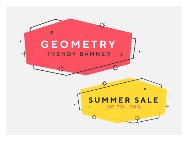 Set of trendy flat geometric vector banners in trendy style. Set of trendy flat geometric vector banners. Vivid transparent banners in retro poster design style. Vintage colors and shapes. Red and yellow colors. 90s or 80s trendy style. container stock illustrations
