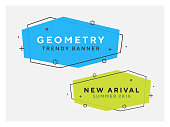 Set of trendy flat geometric vector banners. Vivid transparent banners in retro poster design style. Vintage colors and shapes. Green and blue colorss. 90s or 80s style.
