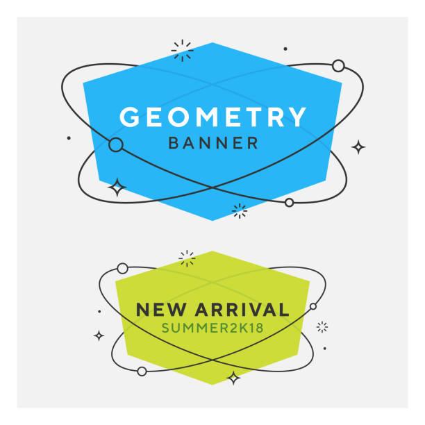 illustrazioni stock, clip art, cartoni animati e icone di tendenza di set di banner vettoriali geometrici piatti alla moda - titolo mondiale