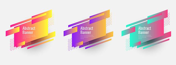 Set of trendy flat geometric vector banners