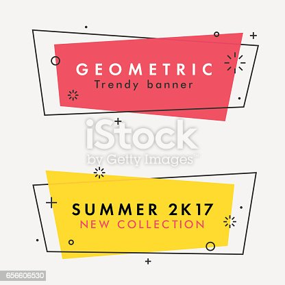 Set of trendy flat geometric vector banners. Vivid transparent banners in retro poster design style. Vintage colors and shapes. Red and yellow colors.