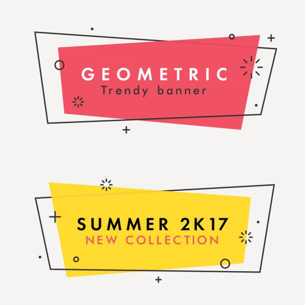 set of trendy flat geometric vector banners. - retro and vintage frames stock illustrations, clip art, cartoons, & icons