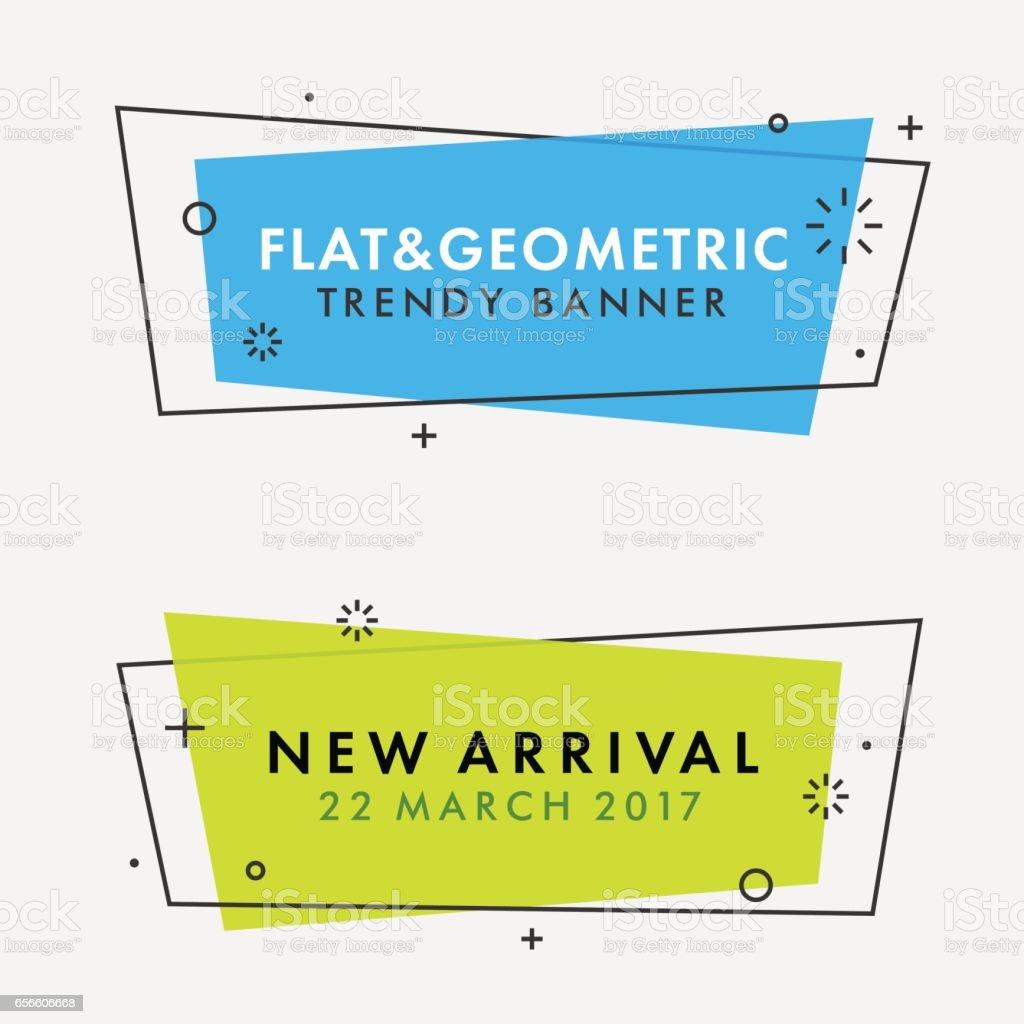 Ensemble de bannières de vecteur géométrique plat dernier cri. - Illustration vectorielle