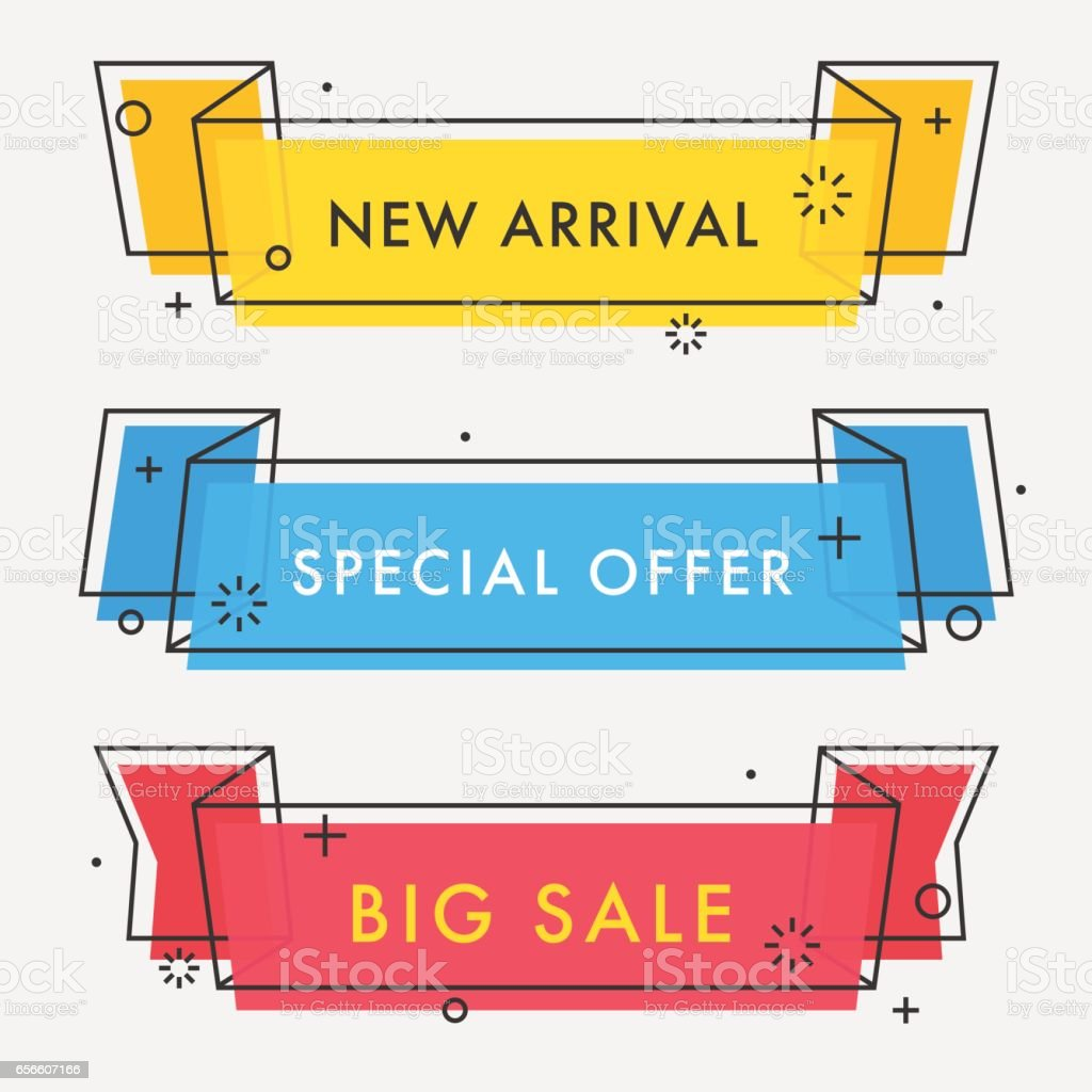 Set of trendy flat geometric vector ribbons. vector art illustration