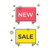Set of trendy flat ribbon banner with text for new sales.