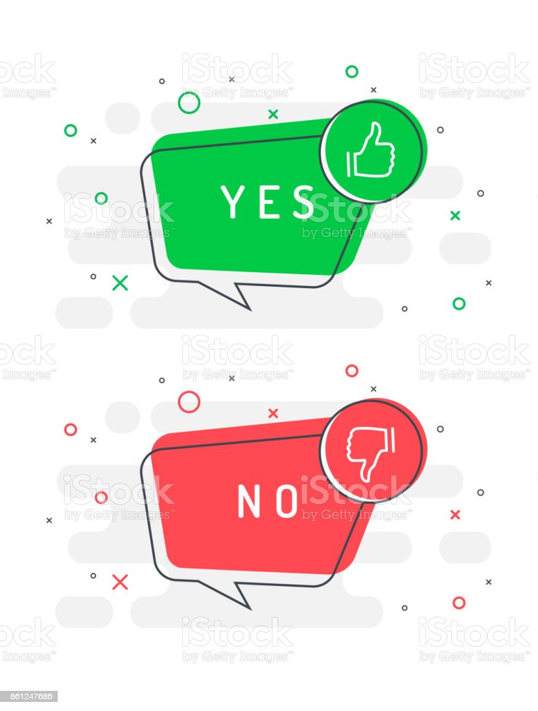 Set of trendy flat vector bubble. Like and dislike icons set. Thumb up and thumb down. Yes or no?  Red and green colors. vector art illustration