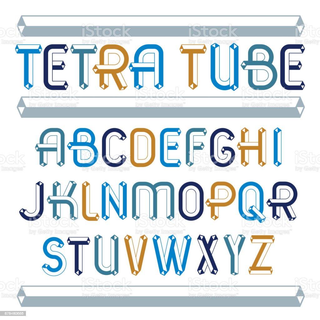 27b68c30f Conjunto de moda divertido vector letras del alfabeto inglés capital  aislado. Tipo especial de letra
