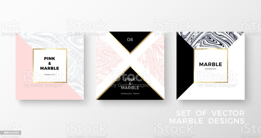 Set of trendy geometric card or flyer designs wiht contrast shapes, marble textures, gold frames and space for text. Vector illustration
