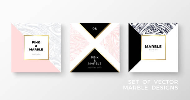 Set of trendy geometric card or flyer designs wiht contrast shapes, marble textures, gold frames and space for text. Vector illustration vector art illustration