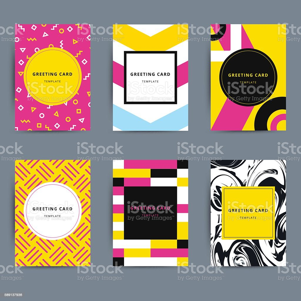 Set Of Trendy Hipster Geometric Greeting Cards Design Bright Mo