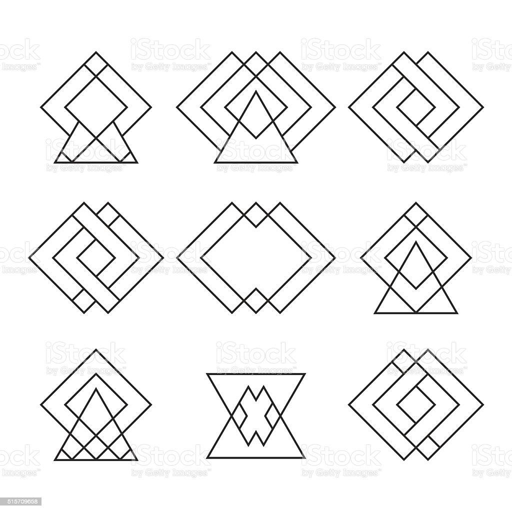 jeu de mode de hipster formes g om triques logotypes g om trique cliparts vectoriels et plus d. Black Bedroom Furniture Sets. Home Design Ideas