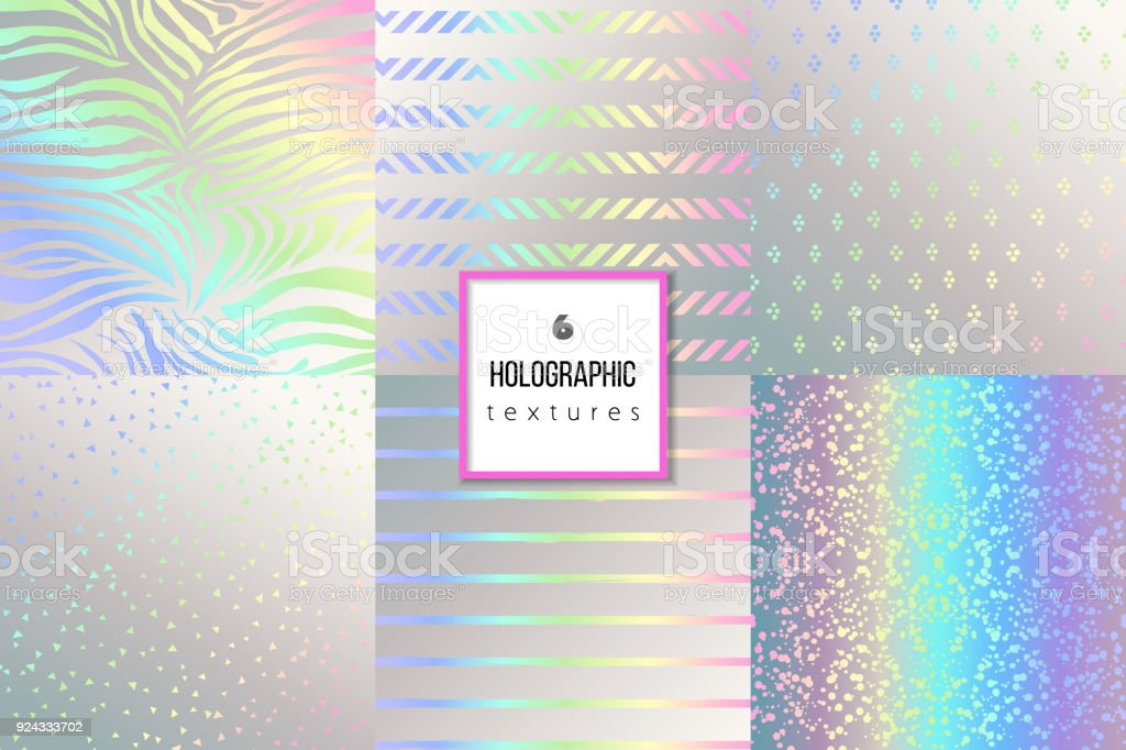 Set of trendy holographic textures for cover, brochure, flyer, p vector art illustration