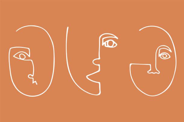 set von trendigen minimalistischen gesichtern. abstrakte lineare silhouette menschlicher gesichter. - avantgarde stock-grafiken, -clipart, -cartoons und -symbole