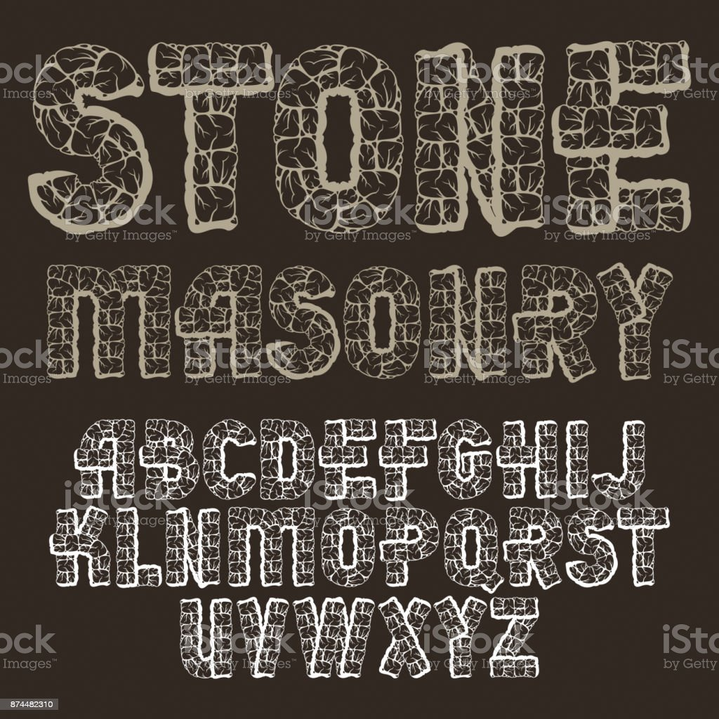 Set Of Trendy Old Vector Capital English Alphabet Letters Isolated