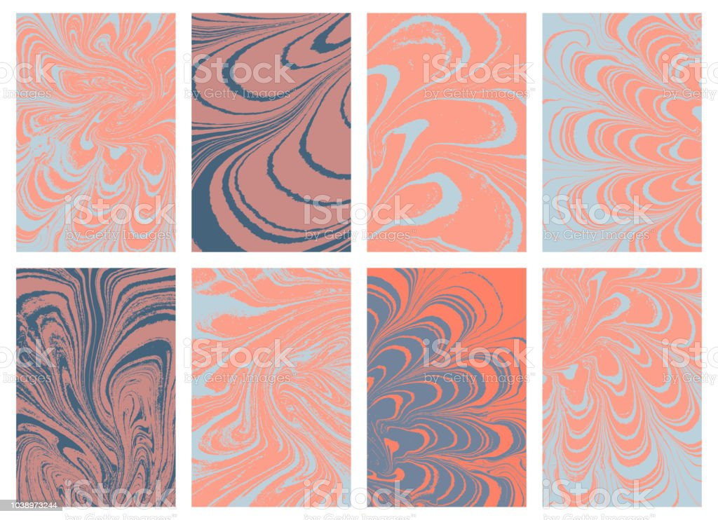 Set of trendy pastel color marble paper. Puzzle marbleized effect. Ancient oriental drawing technique. Swirls ripples and waves. Vector. vector art illustration