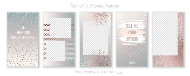 set of trendy rose gold quartz and instagram story templates - instagram stock illustrations