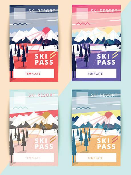 illustrations, cliparts, dessins animés et icônes de set of trendy vector ski pass template design. - ski