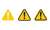 Set of triangle caution icons