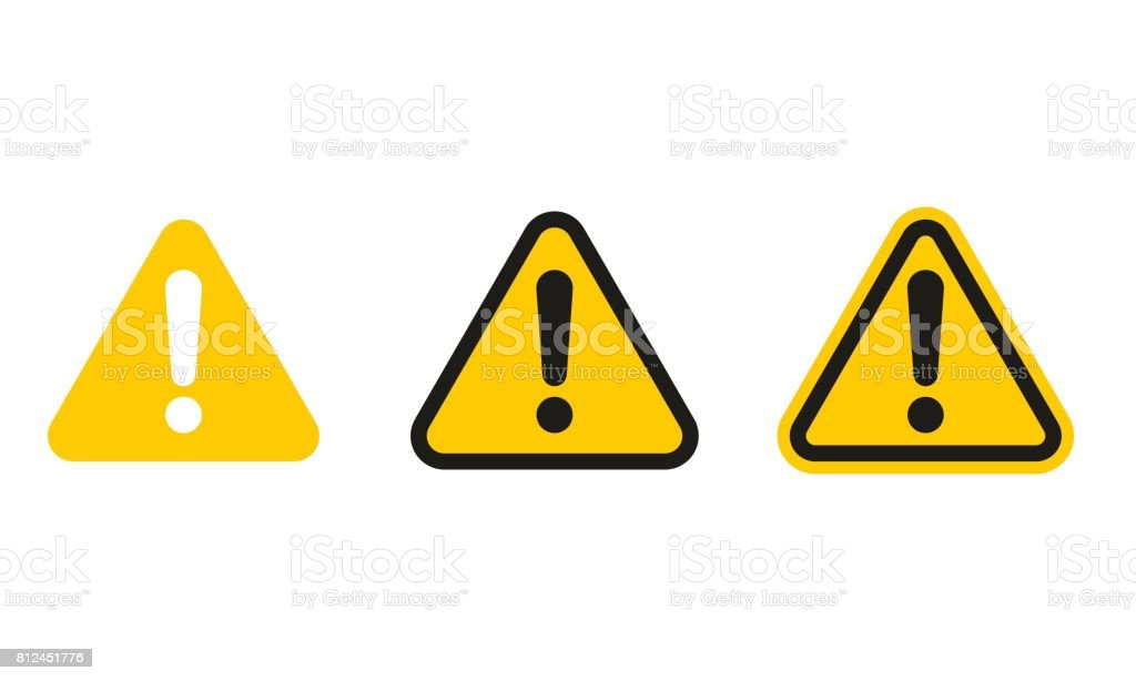 Set of triangle caution icons vector art illustration