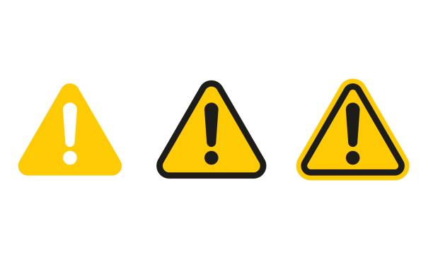 set of triangle caution icons - traffic stock illustrations