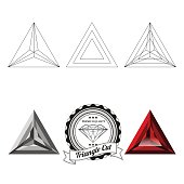 Set of triangle cut jewel views isolated on white background - top view, bottom view, realistic ruby, realistic diamond and badge. Can be used as part of logo, icon, web decor or other design.