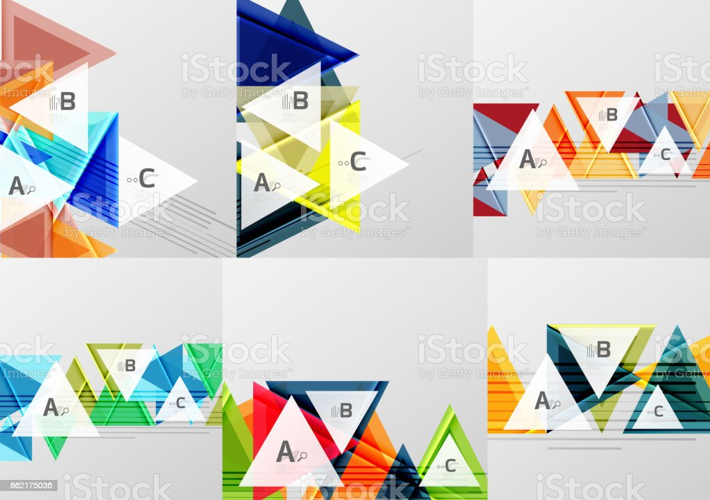 Set of triangle geometric abstract backgrounds vector art illustration