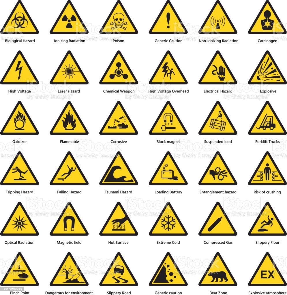 Ilustración de Conjunto De Triángulo Amarillo Advertencia Señal ...
