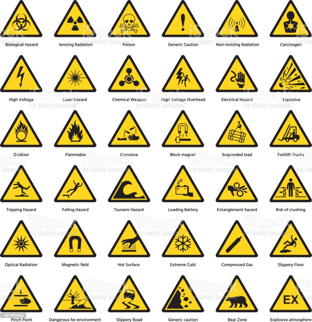 Set of triangle yellow warning sign hazard dander attention symbols chemical flammable security radiation caution icon vector illustration vector art illustration