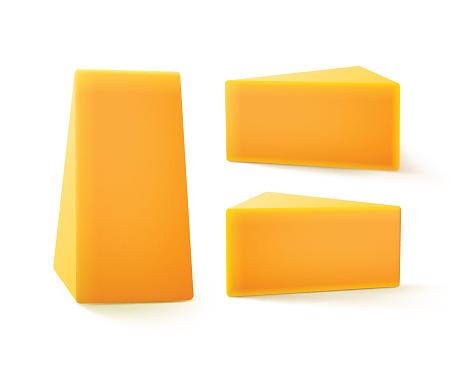 Set of Triangular Pieces Cheddar Cheese