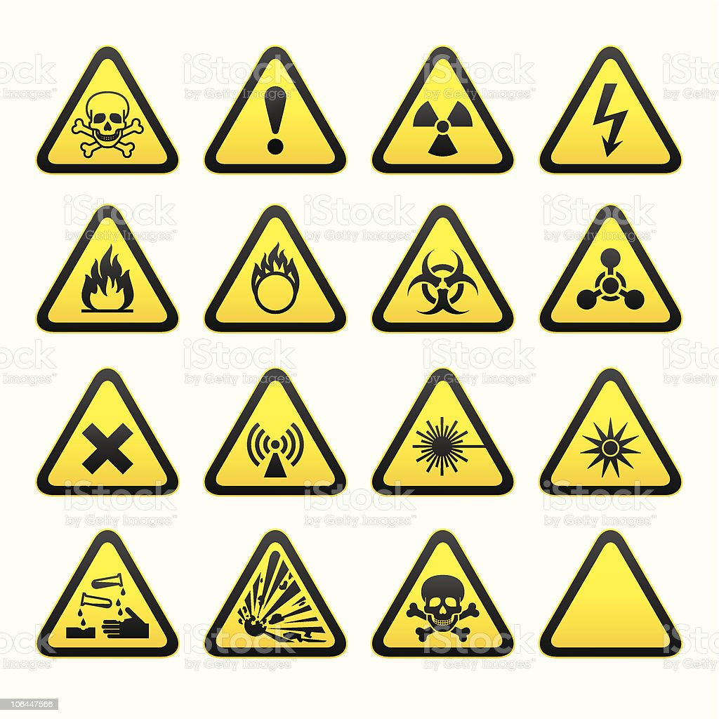 Set of Triangular Warning Hazard Signs royalty-free set of triangular warning hazard signs stock vector art & more images of color image