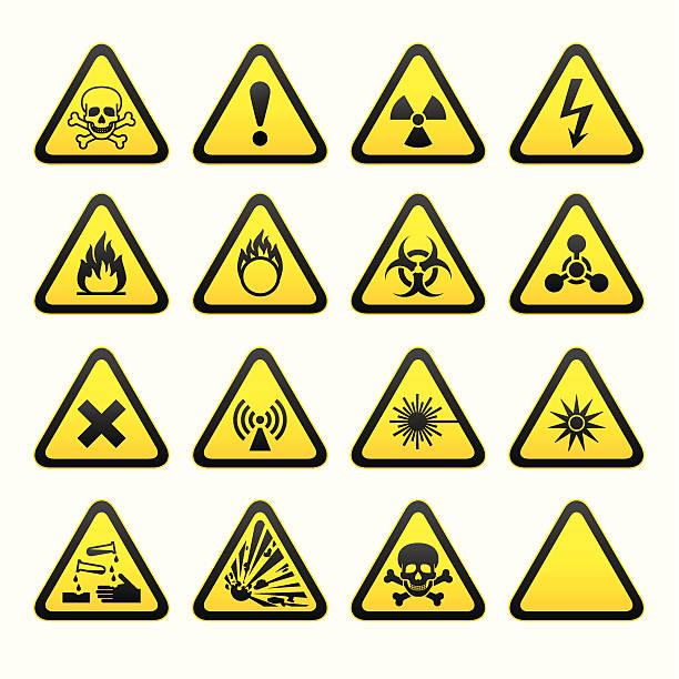 Set of Triangular Warning Hazard Signs  poisonous stock illustrations