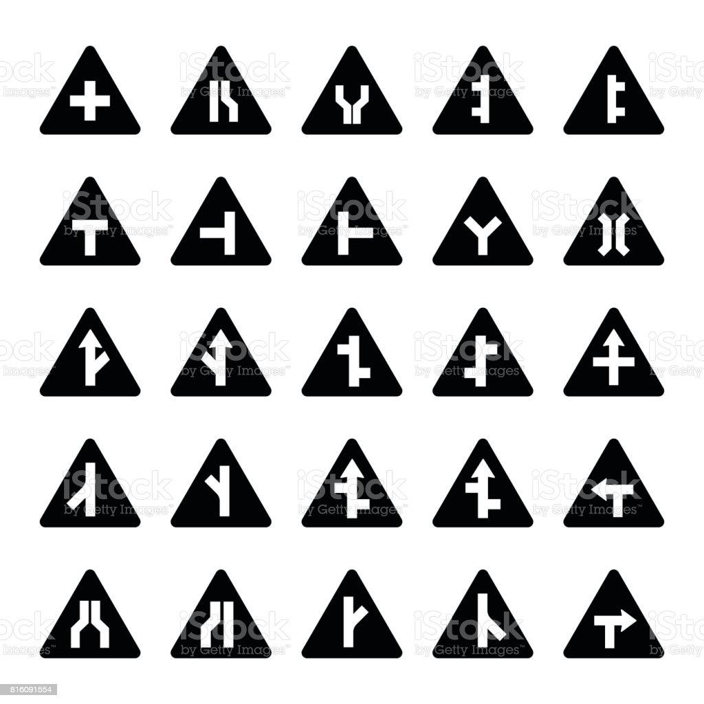 24a4505603675 Conjunto de señales de advertencia triangular negro ilustración de conjunto  de señales de advertencia triangular negro