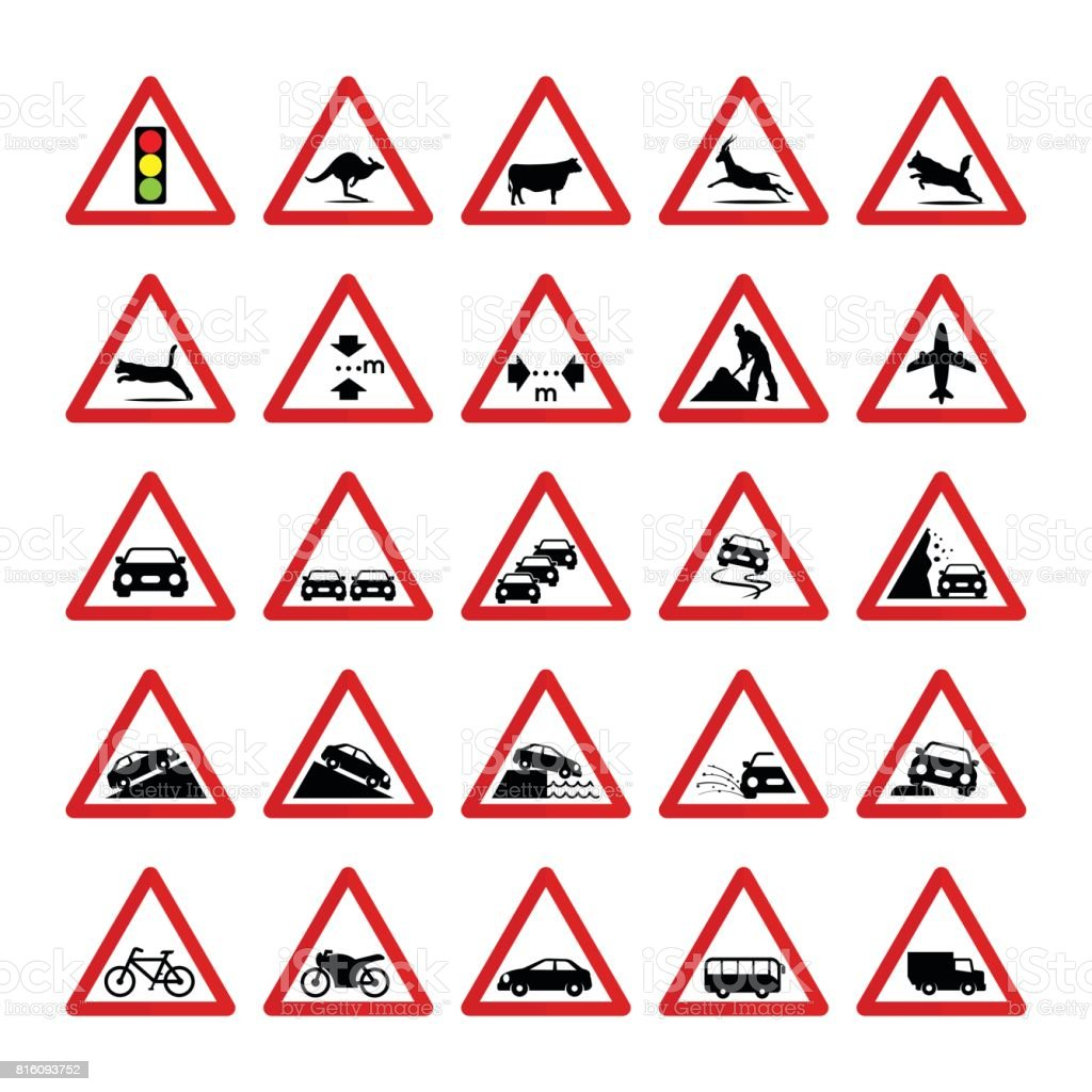 Reihe Von Dreieckigen Warnzeichen Stock Vektor Art und mehr Bilder ...
