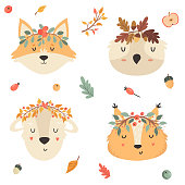 Set of tribal animals in crowns. Squirrel, fox owl, sheep. Woodland kids collection. Character design