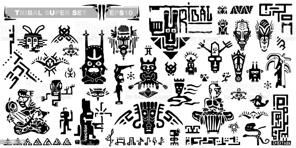 Set Of Tribal Icons And Musical Notes Ancient Elements And Symbols