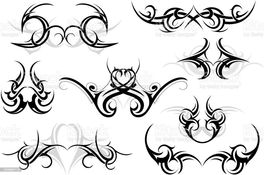 Conjunto de ornamentos tribal - ilustração de arte em vetor