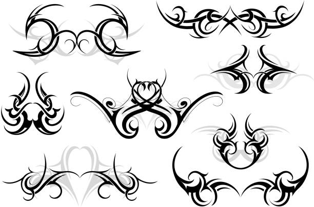 set of tribal ornaments - tribal tattoos stock illustrations, clip art, cartoons, & icons