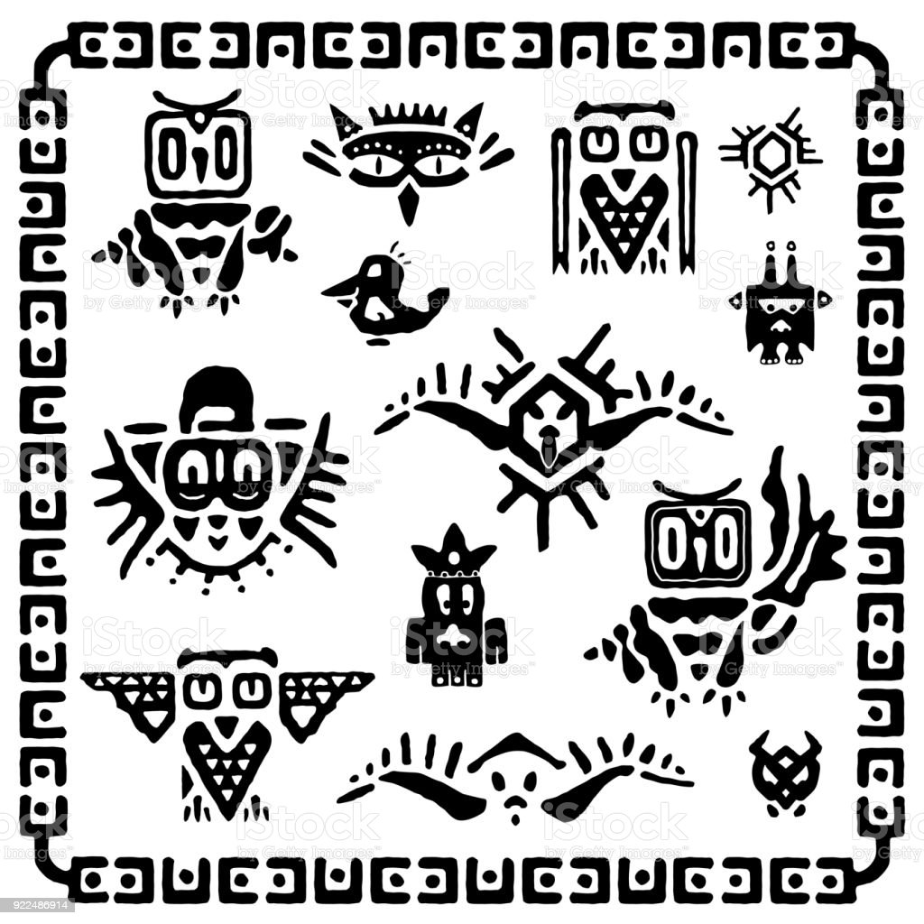 Set Of Tribal Owls Ancient Maya Elements And Symbols Black And White
