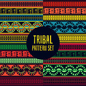 Set of tribal pattern seamless vector. Aztec, Mexican indian, Native American, Peru inca or African print. Ethnics background for fabric, wallpaper, wrapping paper and card template.