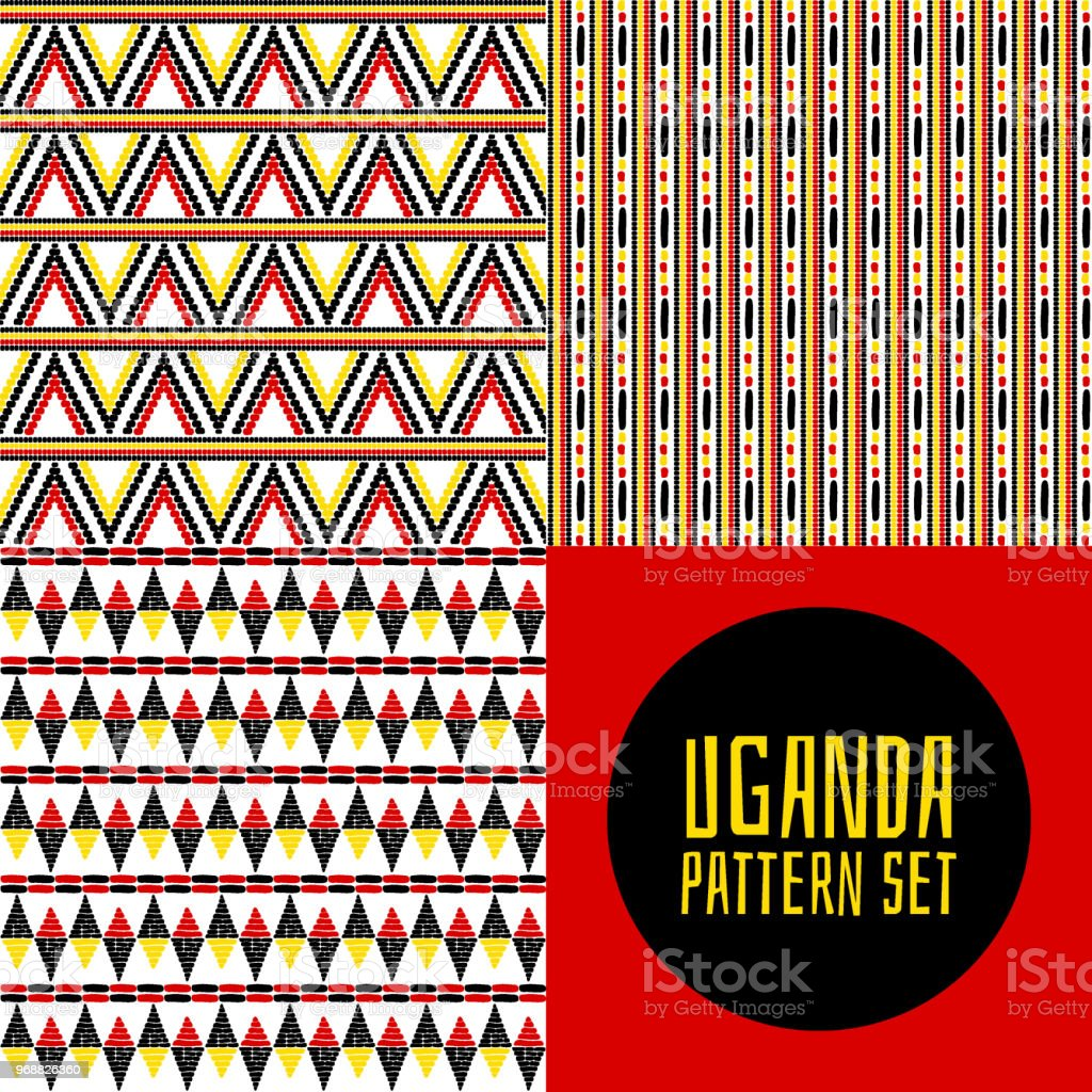 Set Of Tribal Pattern Vector Seamless Uganda Flags Colors African