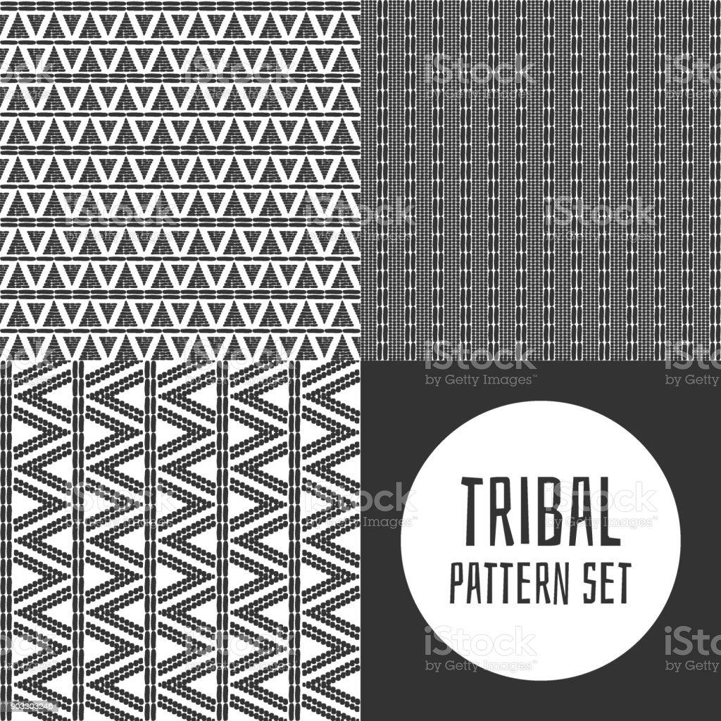 Set of tribal pattern vector seamless vector art illustration