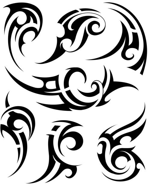 set of tribal tattoo shapes - tribal tattoos stock illustrations, clip art, cartoons, & icons