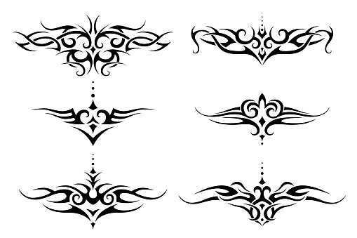 Set of tribal tattoo. Vector frame border pattern ornament decor collection.