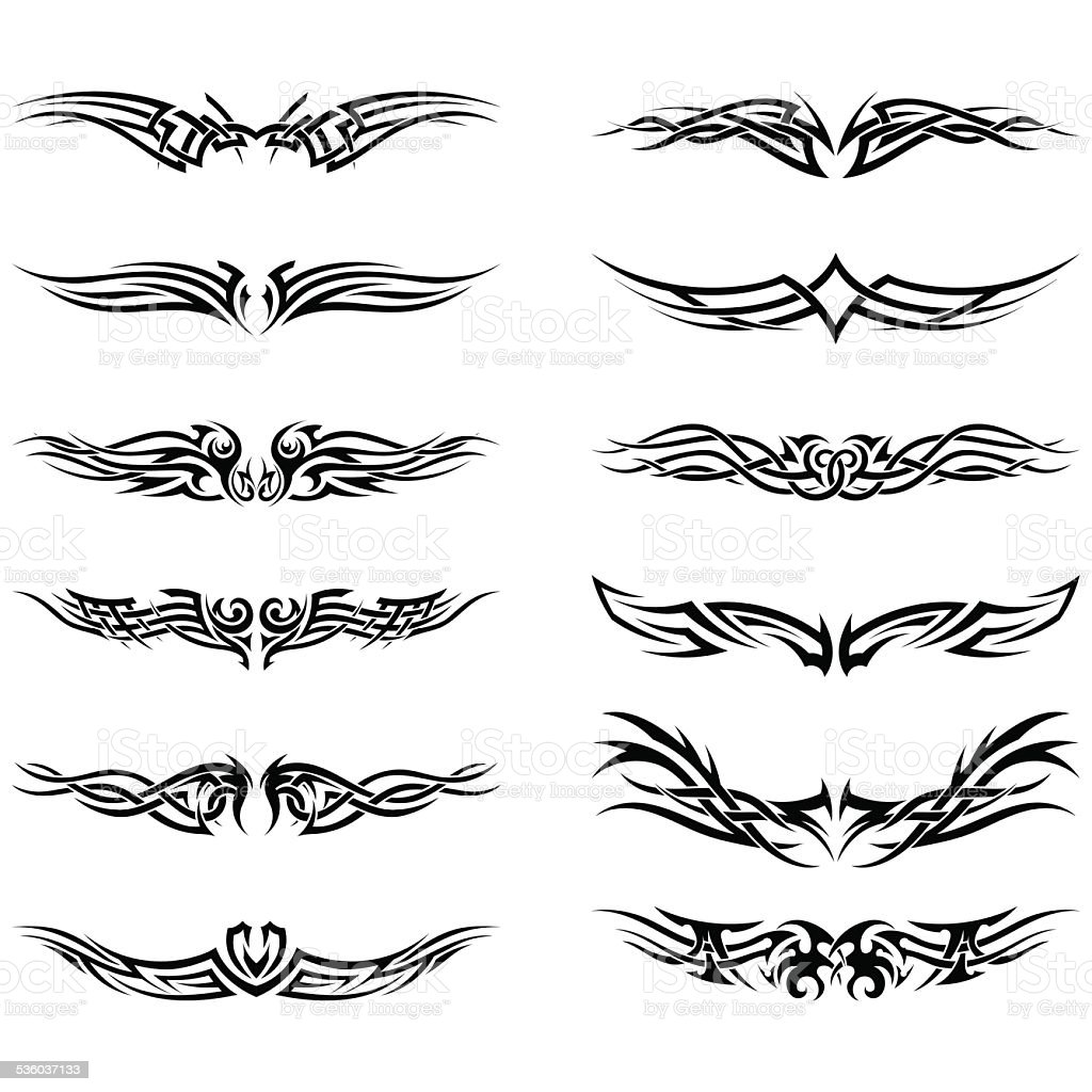 Set of tribal tattoos vector art illustration